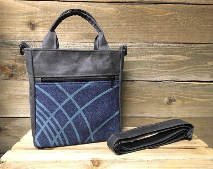 Blue Ripple Waxed Canvas Tote Bag