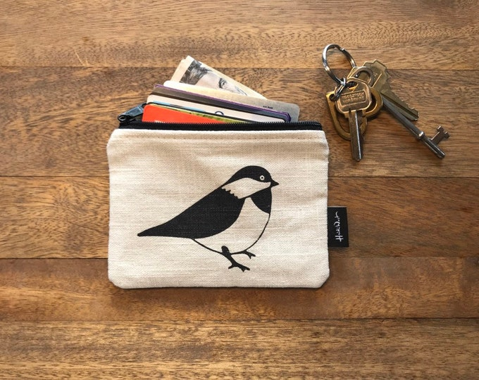 Off-White Chickadee Credit Card Zipper Pouch