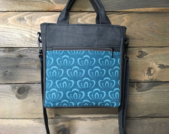 Teal Lotus Flower Waxed Canvas Tote Bag