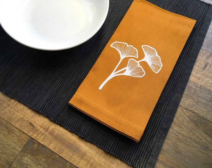 Nutmeg Orange Gingko Cotton Napkins