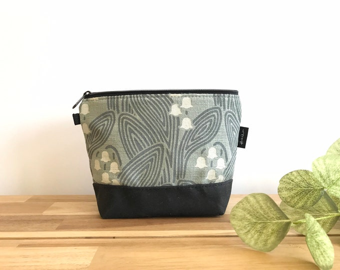 Lily of the Valley Zipper Pouch - Waxed Canvas - Cosmetic Bag - Screen Printed - Hand Printed - May Birthday - Birth Month