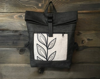 Off-White and Black Continuous Leaf Waxed Canvas Rolltop Backpack