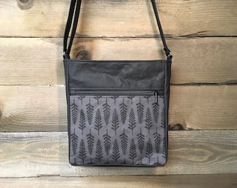 Charcoal Gray Fern Large Waxed Canvas Cross-Body Bag