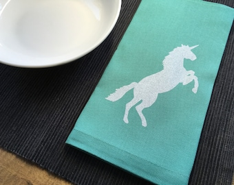 Aqua Blue Unicorn Cotton Napkins