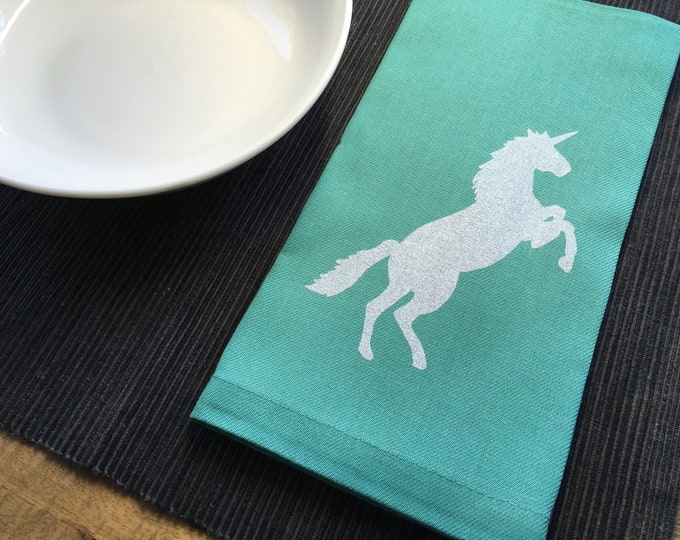 Aqua Blue Unicorn Cotton Napkins