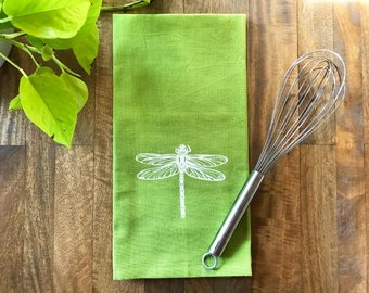 Green Dragonfly Hand Printed Tea Towel