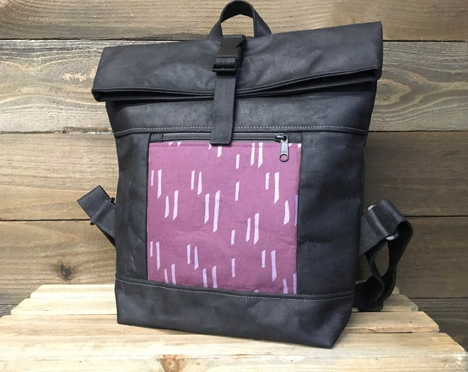 Lavender Stem Waxed Canvas Rolltop Backpack