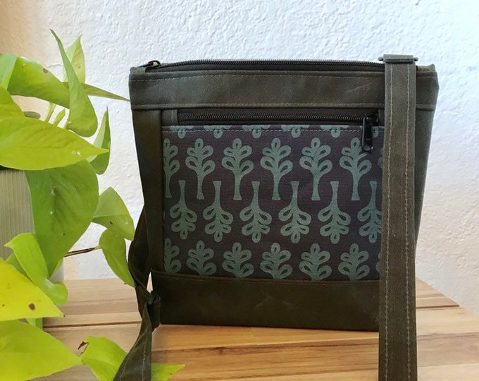 Made to Order - Waxed Canvas Purse - Teal Canvas Bag - Cross Body Purse - Screen Printed - Teal Navy Tree Pattern Bag - Water Resistant