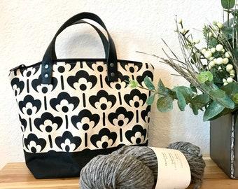 Waxed Canvas Project Bag - Screen Printed - Meadow Flower Print - Yarn Bag - Crochet Bag