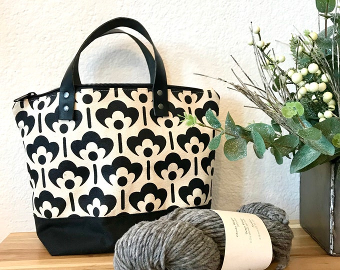 Made to Order - Waxed Canvas Project Bag - Screen Printed - Meadow Flower Print - Yarn Bag - Crochet Bag