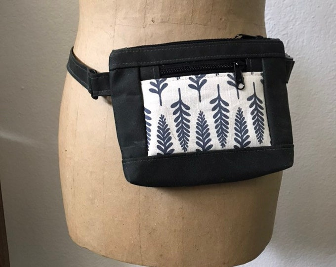 Waxed Canvas Hip Bag - Fanny Pack - Canvas Bag - Cross Body Sling Pouch - Screen Printed - Off White Fern Pattern Bag - Water Resistant