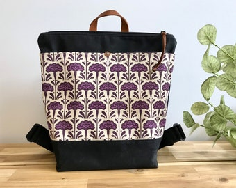 Ready to Ship - Waxed Canvas Backpack - Canvas Bag - Backpack purse - Screen Printed - Carnation Pattern - Water Resistant Bag - January