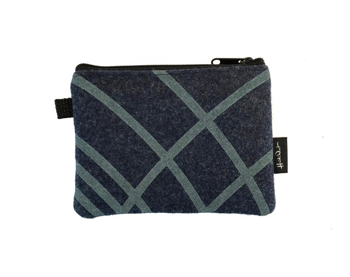 Navy Ripple Credit Card Zipper Pouch