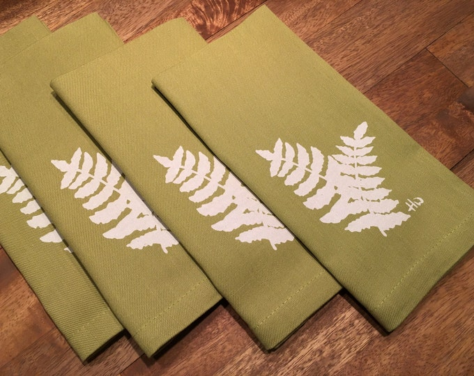 Light Green Fern Cotton Napkins