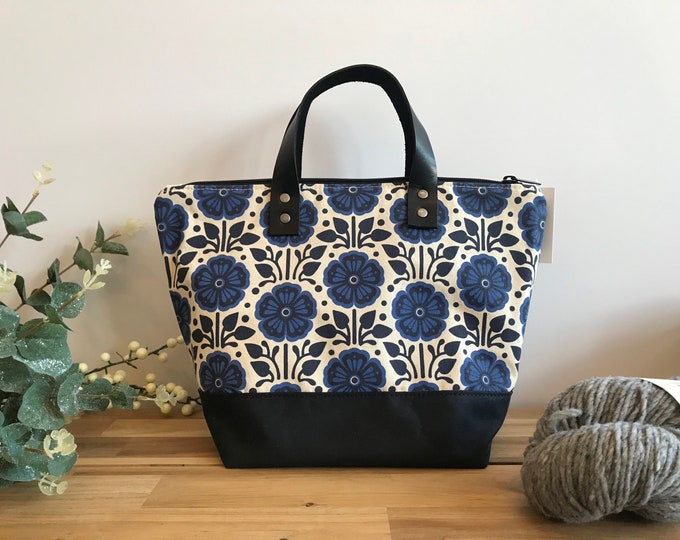 Waxed Canvas Project Bag - Screen Printed - Violet Pattern Print - Yarn Bag - February Birth Month Flower