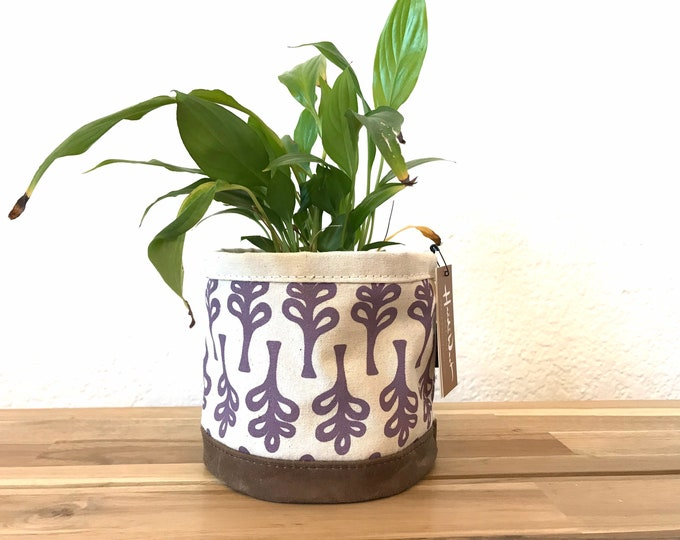 Mini Curly Tree Fabric Bin - Plant Bin - Screen Printed Fabric Bucket - Gift