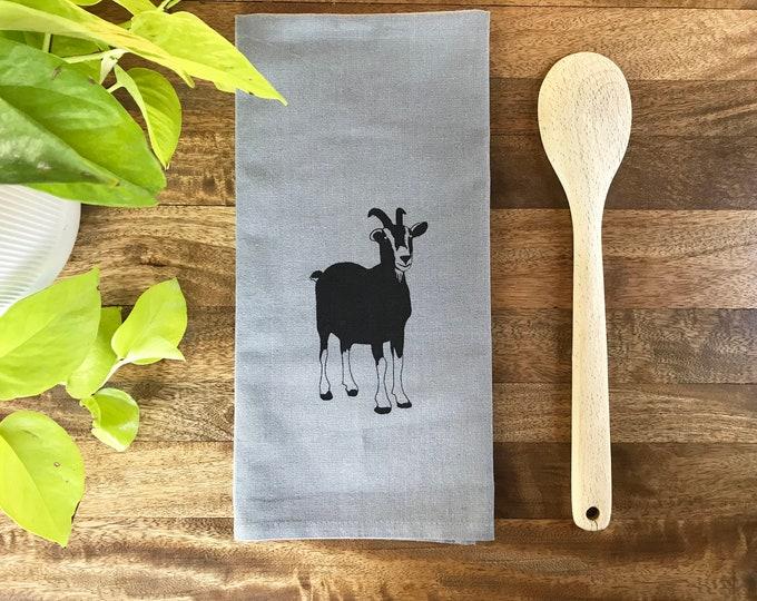 Gray Goat Hand Printed Tea Towel