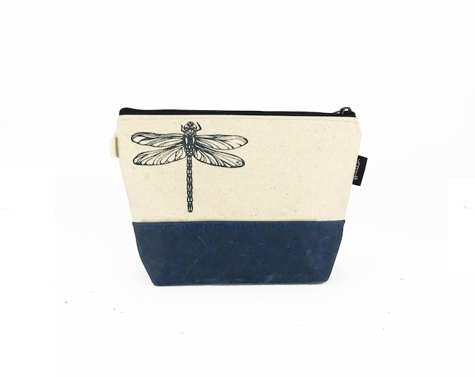 Off White Dragonfly Waxed Canvas Zipper Pouch