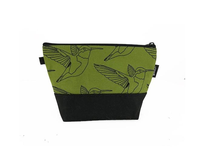 Olive Green Hummingbird Waxed Canvas Zipper Pouch