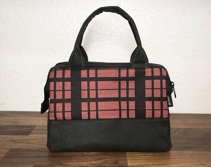 Ready to Ship - Waxed Canvas Project Bag - Dark Coral Red Plaid Bag - Knitting Bag - Screen Printed Bag - Crochet Bag - Yarn Project Bag