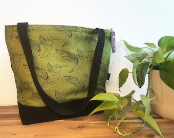 Ready to Ship - Tote Book Bag - Canvas Tote - Screen Printed Bag - Olive Green Hummingbird Bag