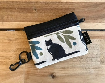 Ready to Ship - Mini Pouch - Tuxedo Cat Zipper Pouch - Zipper Wallet - Screen Printed - Earbud Pouch