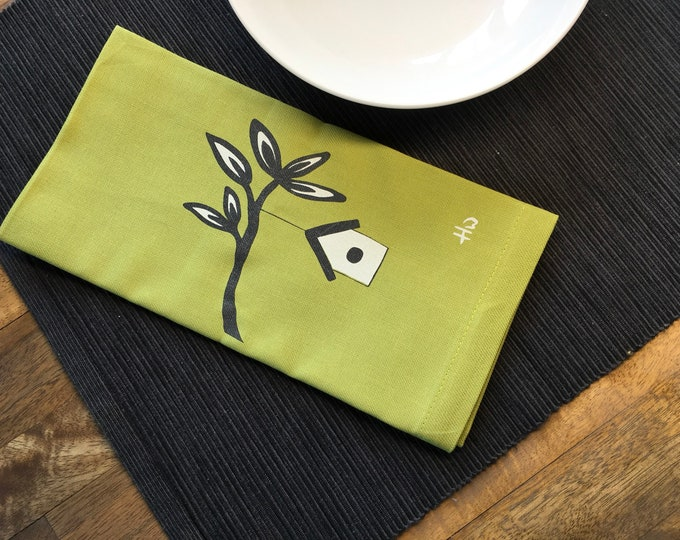 Light Green Birdhouse Cotton Napkins
