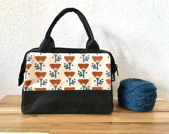 Made to Order - Waxed Canvas Project Bag - Poppy Bag - Knitting Bag - Screen Printed Bag - Crochet Bag - Yarn Project Bag - Gift for Knitt