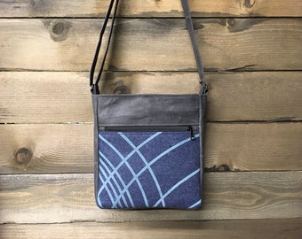Blue Ripple Large Waxed Canvas Cross-Body Bag