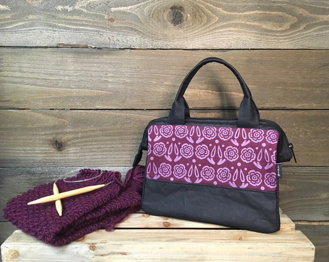 Burgundy Block Flower Waxed Canvas Project Bag / Cosmetic Bag
