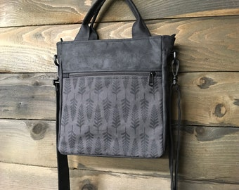 Charcoal Gray Fern Waxed Canvas Tote Bag