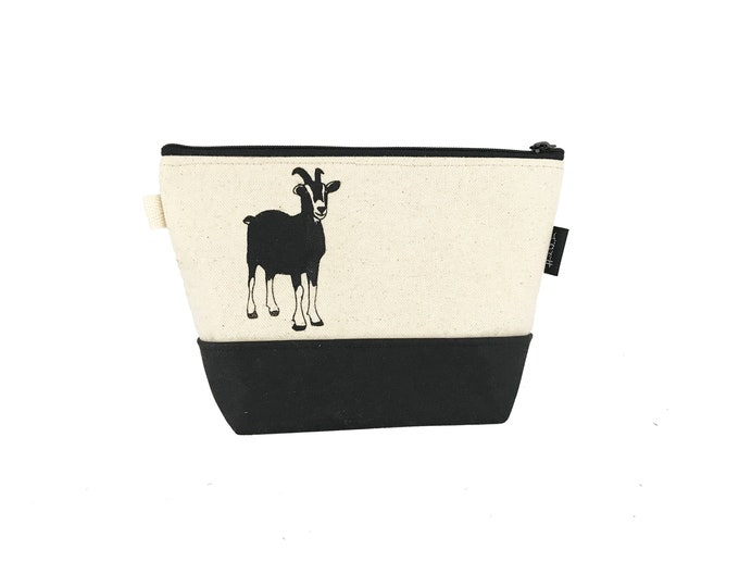 Off White Goat Waxed Canvas Zipper Pouch