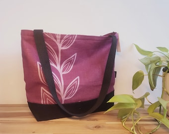Ready to Ship - Tote Book Bag - Canvas Tote - Screen Printed Bag - Magenta Continuous Leaf Tote Bag