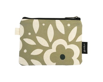 Green Floral Credit Card Zipper Pouch