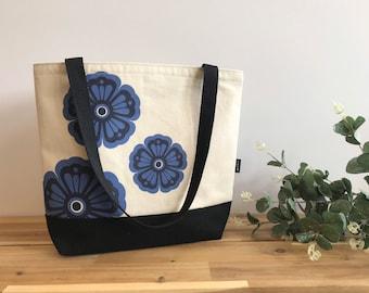 Violet Motif Tote Book Bag - Canvas Tote - Screen Printed Bag - February Birth Flower