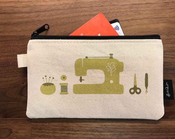 Ready to Ship - Sewing Tools Zipper Pouch - Zipper Wallet - Screen Printed - Sewing - Off White Zipper Pouch