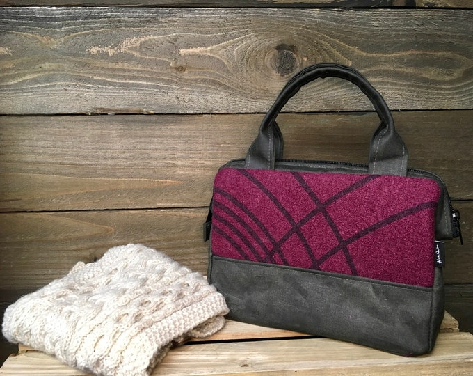 Magenta Ripple Waxed Canvas Project Bag - Ripple Bag - Knitting Bag - Screen Printed Bag - Crochet Bag - Yarn Project Bag - Boiled Wool