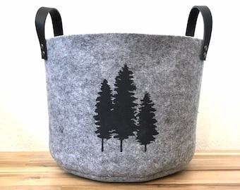 Ready to Ship - Gray Felt Fabric Bin with Fir Trees - Felt Basket - Screen Printed Tree Fabric Bucket