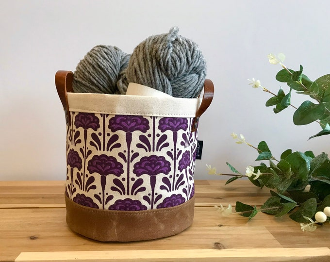 Ready to Ship - Carnation Pattern Fabric Bin - January Birth Month - Screen Printed Fabric Bucket - Gift for January