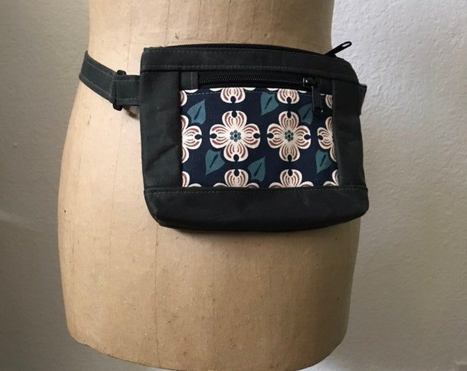 Made to Order - Waxed Canvas Hip Bag - Fanny Pack - Canvas Bag - Cross Body Sling Pouch - Screen Printed - Navy Dogwood Flower Pattern Bag