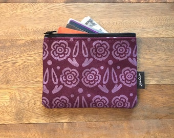 Wine Block Flower Credit Card Zipper Pouch