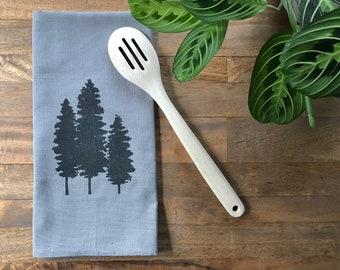 Gray Fir Tree Hand Printed Tea Towel