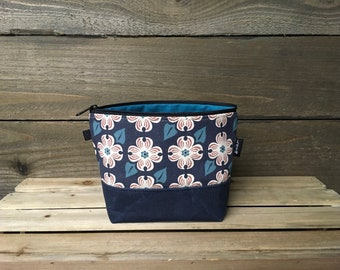 Navy Blue Dogwood Flower Waxed Canvas Zipper Pouch