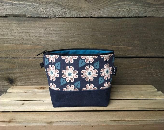 Navy Blue Dogwood Flower Waxed Canvas Zipper Pouch
