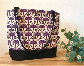 Ready to Ship - Carnation Pattern Tote Book Bag - Canvas Tote - Screen Printed Bag - January Birth Flower