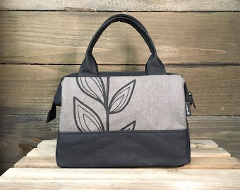 Gray Continuous Leaf Waxed Canvas Project Bag / Cosmetic Bag