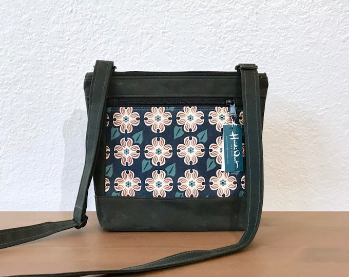 Made to Order -Waxed Canvas Purse - Dogwood Print Canvas Bag - Cross Body Purse - Screen Printed - Dogwood Flower Pattern Bag - Water Resist