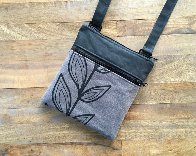 Gray Continuous Leaf Waxed Canvas Cross Body Bag
