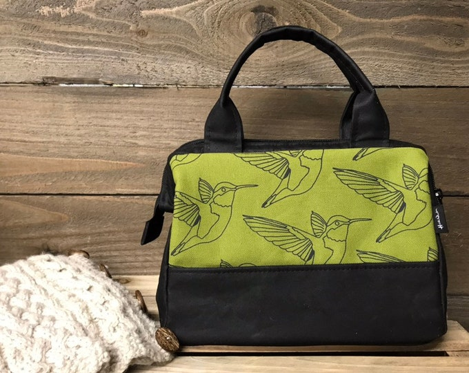 Moss Green Hummingbird Waxed Canvas Project Bag / Cosmetic Bag