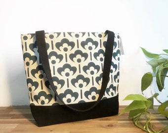 Ready to Ship - Tote Book Bag - Canvas Tote - Screen Printed Bag - Natural/Teal Meadow Flower Bag